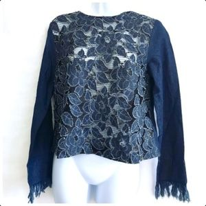 NWT English Factory top w/lace/appliqué size S